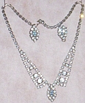 Vintage Ice Blue Rhinestone Earring and Necklace Set Teardrop
