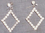 Click here to enlarge image and see more about item ole-293: intage Rhinestone Dangle Earrings Large Diamond Shape