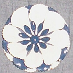 Large Blue and White Enameled Floral Brooch