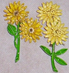 Click here to enlarge image and see more about item ole-311: Pair Enameled Yellow Flower Pins Green Stems