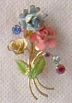 Click here to enlarge image and see more about item ole-315: Flower and Crystal Brooch Austria