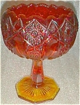Click to view larger image of Quintec Amberina Compote by L. E. SMITH Opalescent rim (Image1)