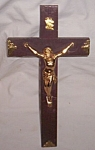 Click here to enlarge image and see more about item ole-553: Vintage Wood Crucifix Heavy Metal Christ