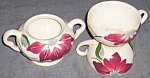 Click here to enlarge image and see more about item ole-586: Blue Ridge Pottery Sugar & 2 Cups Poinsettia