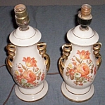 Click here to enlarge image and see more about item ole-619: Lovely Pair Vintage Table Lamps Autumn Colors