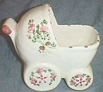 Cute Baby Buggy Stroller Planter Hand Painted