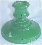 Click here to enlarge image and see more about item ole-77: Vintage Glass Candle Holder Green Fired on Color