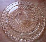 Click here to enlarge image and see more about item ole-943: Vintage Cake Plate Dots and Sunburst