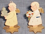 Click here to enlarge image and see more about item pen-63: 2 Antique German Wooden Miniature Angels