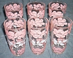6 Hazel Atlas Pink Roses Tumblers