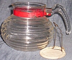 Click here to enlarge image and see more about item rum682: Vintage Coffee Pot Red Ring Glass Handle