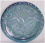 Click here to enlarge image and see more about item rum-136: Blue Carnival Glass 1776-1976 Bicentennial Plate