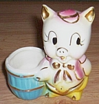 Click here to enlarge image and see more about item rum-231: Small Shawnee Figural Planter Pig w Basket