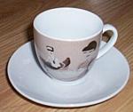 Click to view larger image of Vintage Demitasse Cup Saucer Beatnik Pattern (Image1)