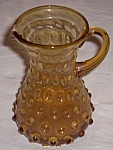 Vintage Amber Hobnail Art Glass Pitcher
