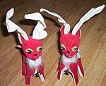 Pair (2) Vintage Red Reindeer