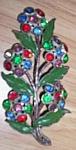 Large Vintage Floral Rhinestone Brooch