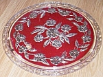 Stunning Floral Cake Plate Red & Silver Treatment