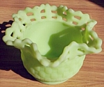 Click here to enlarge image and see more about item rum-351: Fenton Green Satin Basket Weave Dish