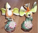 Pair of Stunning Vintage Parrot or Jay Figurines