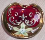 Antique Ruby Glass Trinket Enameled and Gold