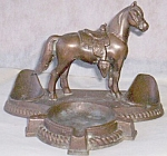 Click here to enlarge image and see more about item rum-89: Cast Copper Pipe Rest w/ Horse and Ashtray