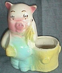 Shawnee Farmer Pig with Stump Planter Pink Face