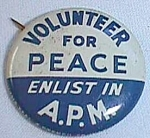 Click to view larger image of 1941 Celluloid Lapel Pin American Peace Mobilization Free Shipping (Image1)