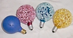 Click here to enlarge image and see more about item tw-10: 4 Vintage Christmas Light Bulbs Glittered D-30