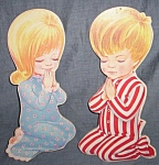 Click here to enlarge image and see more about item tw-28: Vintage Wall Plaques Praying Boy and Girl