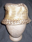 Click to view larger image of Vintage Lady's Straw and Satin Bow Hat Free Shipping (Image1)