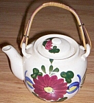 Click here to enlarge image and see more about item twig-59: Lovely Old Teapot Hand Painted Flowers