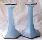 Pair Tall Art Deco Candle Holders Fired on Blue