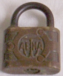 Click here to enlarge image and see more about item uk-98: Antique Aetna Padlock