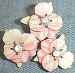 Vintage Triple Pink Pansy Brooch Rhinestone Centers Free Shipping