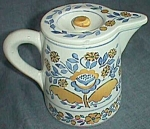 Click to view larger image of Vintage Persian Ware Small Milk Pitcher Sunflower (Image1)