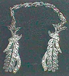 Click to view larger image of Vintage Glove Clips White Stones on Leaves ROMA Free Shipping (Image1)
