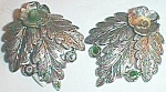 Click to view larger image of Pair Vintage Dress Clips Large Triple Leaf Green Stones Free Shipping (Image1)