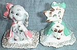 Adorable Cat & Dog Porcelain Figurines Dressed to Go!