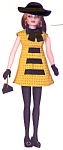 Click here to enlarge image and see more about item KWDO6: Knickerbocker Wllow and Daisy Fashion Doll Outfit