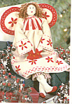 Click here to enlarge image and see more about item THT8: RED WORK HOLIDAY CHRISTMAS ANGEL