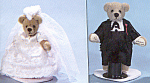 Click here to enlarge image and see more about item WMB4: World of Miniature Bears Bride and Groom JUNE and JIM