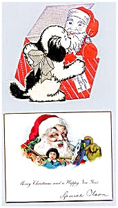 Two Great Vintage Santa Cards, 1940s
