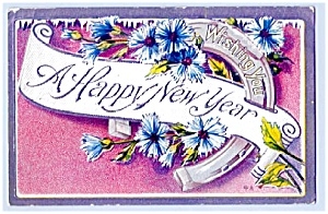Horseshoe, Flowers Wish Happy New Year (Image1)