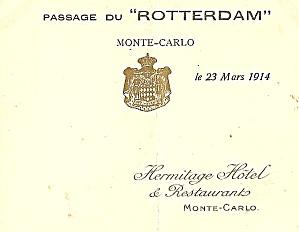 Vintage Menu: 1914 Passage du 'Rotterdam', Monte-Carlo (Image1)
