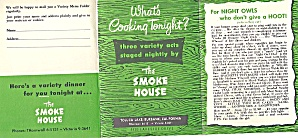 Vintage 1954 Menu: The Smoke House, Burbank, Ca, Warner Bros. Studio