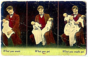 What You Might Get …1930s Vintage New Baby Postcard (Image1)