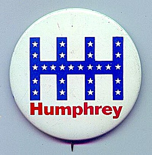 Small HHH Humphrey Political Pinback, 1968 (Image1)