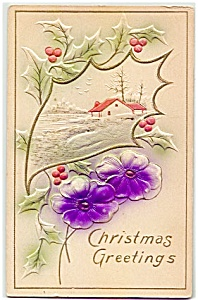 1903 Embossed Flowers, Christmas Greetings