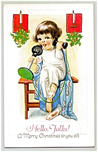 Child, Candlestick Telephone, 'hello Folks'